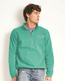 Alpha Sigma Phi Comfort Colors Garment-Dyed Quarter Zip Sweatshirt