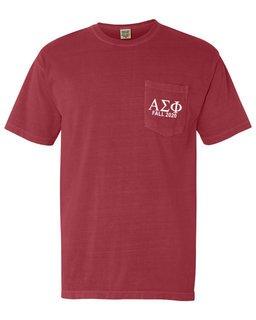Alpha Sigma Phi Greek Letter Comfort Colors Pocket Tee