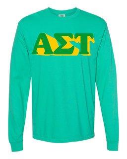 Alpha Sigma Tau 3 D Greek Long Sleeve T-Shirt - Comfort Colors