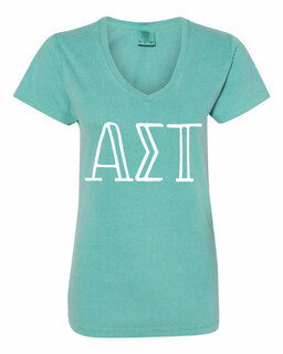 Alpha Sigma Tau Comfort Colors V-Neck T-Shirt