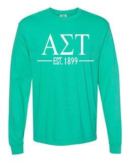 Alpha Sigma Tau Custom Greek Lettered Long Sleeve T-Shirt - Comfort Colors
