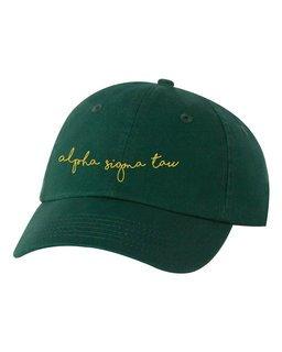 Alpha Sigma Tau Smiling Script Greek Hat
