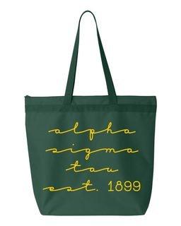 Alpha Sigma Tau New Script Established Tote Bag