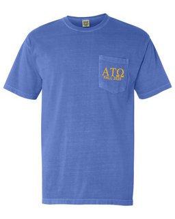 Alpha Tau Omega Greek Letter Comfort Colors Pocket Tee