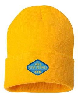 DISCOUNT-Alpha Tau Omega Woven Emblem Knit Cap