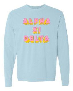 Alpha Xi Delta 3Delightful Long Sleeve T-Shirt - Comfort Colors