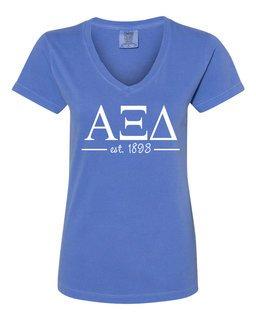 Alpha Xi Delta Comfort Colors Custom V-Neck T-Shirt
