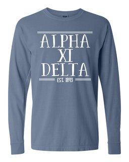 Alpha Xi Delta Comfort Colors Custom Long Sleeve T-Shirt