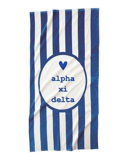 Alpha Xi Delta Striped Beach Towel
