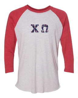 Chi Omega Unisex Tri-Blend Three-Quarter Sleeve Baseball Raglan Tee