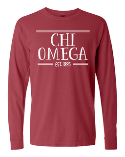 Chi Omega Comfort Colors Custom Long Sleeve T-Shirt