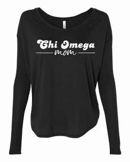 Chi Omega Mom Bella + Canvas - Women's Flowy Long Sleeve Tee