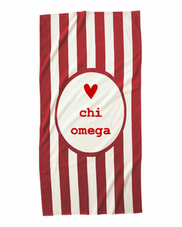 Chi Omega Striped Beach Towel