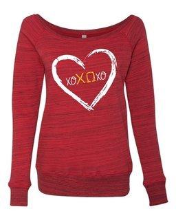 Chi Omega X&O's Fleece Wideneck Sweatshirt