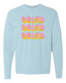 Delta Delta Delta 3Delightful Long Sleeve T-Shirt - Comfort Colors