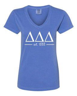 Delta Delta Delta Comfort Colors Custom V-Neck T-Shirt