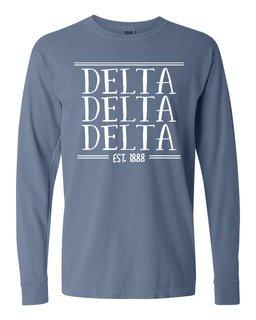 Delta Delta Delta Comfort Colors Custom Long Sleeve T-Shirt
