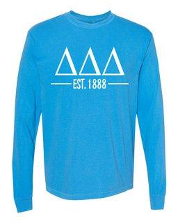 Delta Delta Delta Custom Greek Lettered Long Sleeve T-Shirt - Comfort Colors