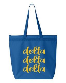Delta Delta Delta Script Tote Bag