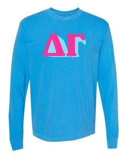 Delta Gamma 3 D Greek Long Sleeve T-Shirt - Comfort Colors