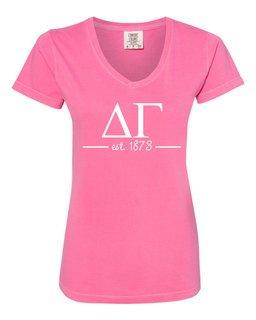 Delta Gamma Comfort Colors Custom V-Neck T-Shirt