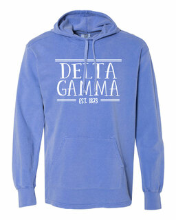 Delta Gamma Comfort Colors Terry Scuba Neck Custom Hooded Pullover