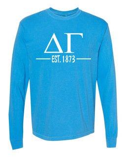 Delta Gamma Custom Greek Lettered Long Sleeve T-Shirt - Comfort Colors