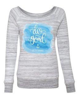 Delta Gamma Do Good Watercolor Fleece Wideneck Sweatshirt