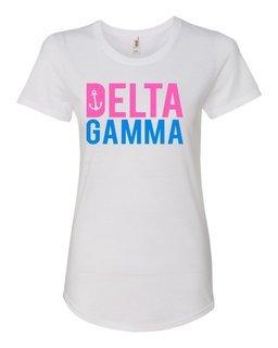 Delta Gamma Pink & Blue Triblend Scoopneck T-Shirt