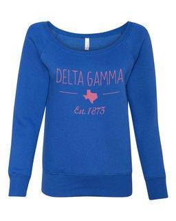 Delta Gamma State Sorority Wideneck Crew Sweatshirt