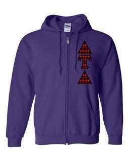 """Delta Tau Delta Heavy Full-Zip Hooded Sweatshirt - 3"""" Letters!"""