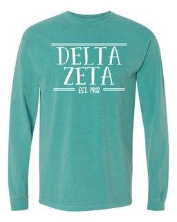 Delta Zeta Comfort Colors Custom Long Sleeve T-Shirt