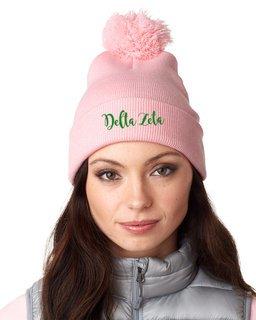 Delta Zeta Knit Pom-Pom Beanie with Cuff