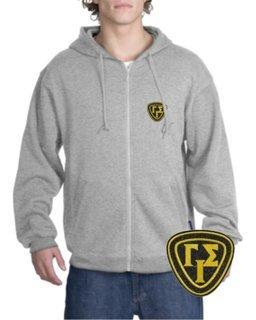 DISCOUNT-Gamma Iota Sigma Emblem Full Zippered Hoodie