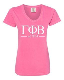 Gamma Phi Beta Comfort Colors Custom V-Neck T-Shirt