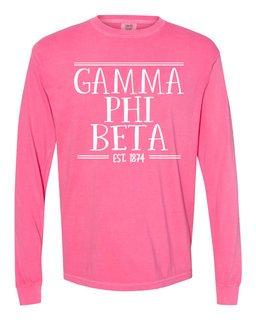Gamma Phi Beta Comfort Colors Custom Long Sleeve T-Shirt
