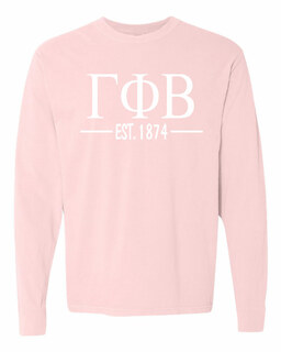 Gamma Phi Beta Custom Greek Lettered Long Sleeve T-Shirt - Comfort Colors
