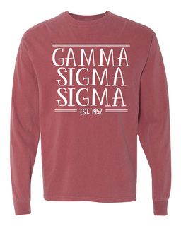 Gamma Sigma Sigma Comfort Colors Custom Long Sleeve T-Shirt