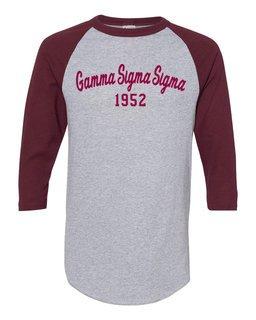 Gamma Sigma Sigma Script Established Raglan