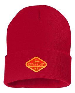 DISCOUNT-Kappa Alpha Woven Emblem Knit Cap