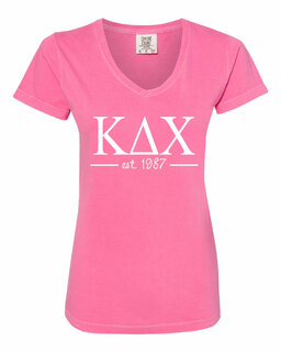 Kappa Delta Chi Comfort Colors Custom V-Neck T-Shirt