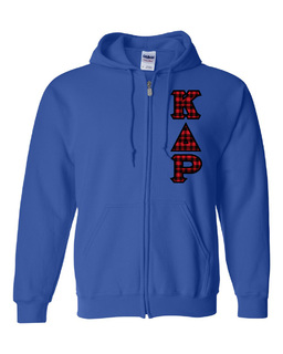 """Kappa Delta Rho Heavy Full-Zip Hooded Sweatshirt - 3"""" Letters!"""