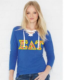 LAT - Sorority Fine Jersey Lace-Up Long Sleeve T-Shirt