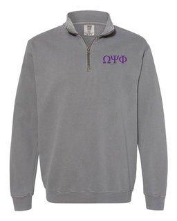 Omega Psi Phi Comfort Colors Garment-Dyed Quarter Zip Sweatshirt