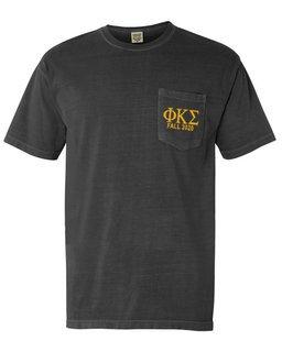 Phi Kappa Sigma Greek Letter Comfort Colors Pocket Tee