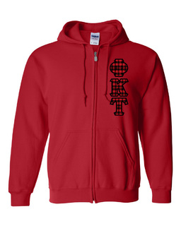 "Phi Kappa Tau Heavy Full-Zip Hooded Sweatshirt - 3"" Letters!"