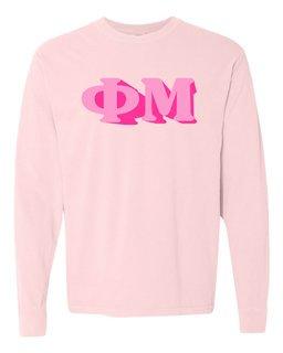 Phi Mu 3 D Greek Long Sleeve T-Shirt - Comfort Colors