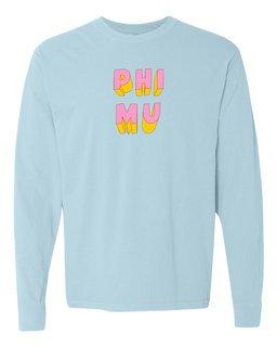 Phi Mu 3Delightful Long Sleeve T-Shirt - Comfort Colors