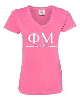 Phi Mu Comfort Colors Custom V-Neck T-Shirt