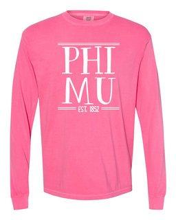 Phi Mu Comfort Colors Custom Long Sleeve T-Shirt
